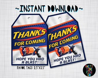 Nerf Favor Tags Birthday Party Thank you Tags Nerf Wars Goodie Bag Tag Gift Label - INSTANT DOWNLOAD with matching Invitation Available