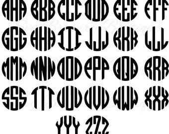 Circle Monongram font svg, png, dxf, for cricut, silhouette studio, cut file cutting machines, vinyl decal, stencil template, t shirt design