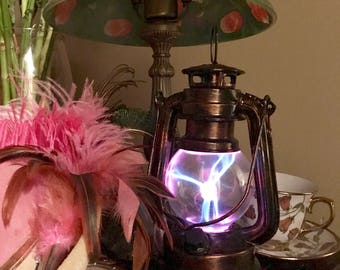 Steampunk, Steampunk Lantern, Copper, Plasma Globe, Victorian, portable steampunk nightlight, unique gift, steampunk lamp, Steampunk gift