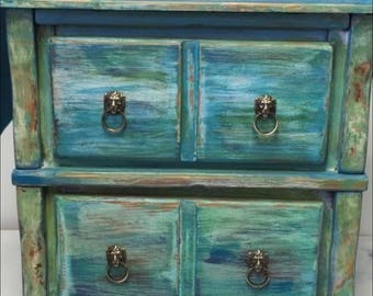 Two Drawer Distressed Blue Green Nightstand