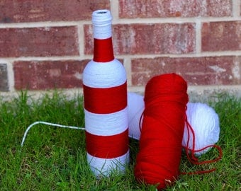 Yarn Wrapped Bottle, Red-White Decorated Wine Bottle, Home Decor, Handmade, Decorative Bottle, Unique Gift for her, Housewarming Gift