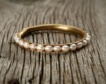 Freshwater Pearl Brass Bangle