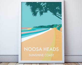 Noosa Heads Vintage Style Seaside Travel Print