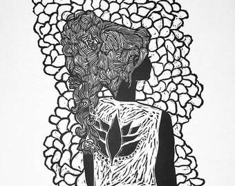 Psychedelic Woman Woodcut Print