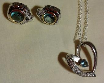 Aquamarine heart necklace w/ diamonds with earrings