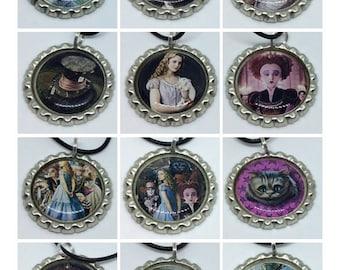 Alice In Wonderland Tim Burton Bottlecap Necklace