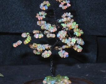 Ethiopian Opal Handmade black wire wrap tree~~sparkles !