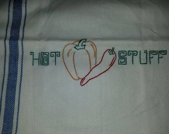 Hand embroidered kitchen towel