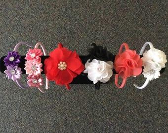 Girls baby headbands embellished satin covered