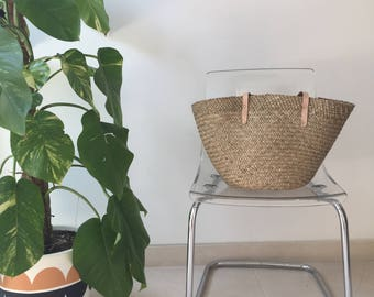 Plain Straw Tote with Long Leather Handles