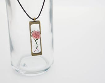 Miniature origami rose resin charm necklace