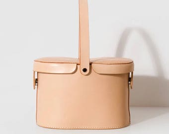 Handmade Leather Bag, Leather Bucket Bag, Leather Basket Bag, Handbag,  Shopping Bag with Vegetable Tanned Leather and inner bag