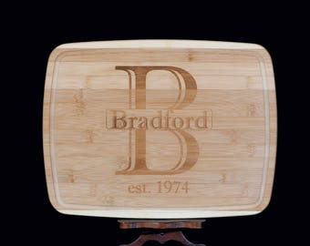 Monogrammed, Bamboo Cutting Board *Perfect Wedding or Anniversary Gift*