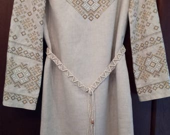 Linen dress with embroidery in the Ukrainian national style.