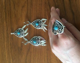 Kazakh National handmade jewellery. A set of 3 pieces: earrings, necklace and a ring
