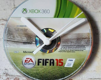 FIFA 15 Xbox 360 Gaming CD Clock unique gift - upcycled