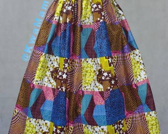 Patched African wax fabric, Ankara maxi skirt, Sale promotion skirt, Maxi summer skirt, Robe Africaine Size US12
