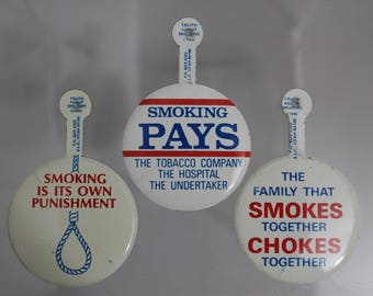 1968 Truth About Smoking - Set of 3 Anti-Smoking Litho-tab Buttons
