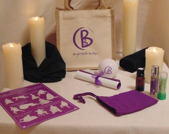 A Natural Bag of Essential items  for Birth, Ideal for Baby showers or a Personal gift.