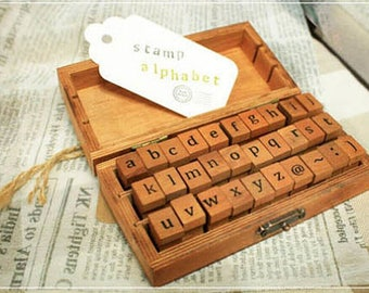 Alphabet Letter Rubber Stamps - Lowercase Letters Diary Stamp Set - Vintage Wooden Box - 30pcs