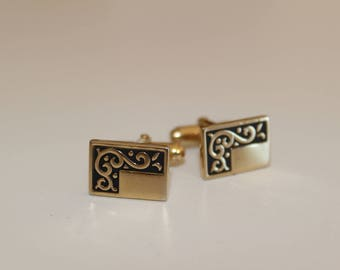 Vintage Gold Tone Cufflinks with black accents