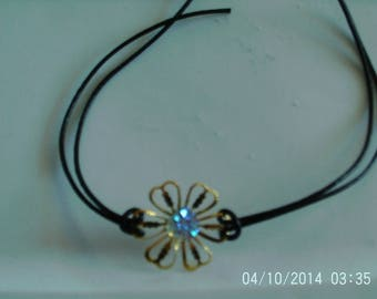 Jewelry set flower gold plated and leather