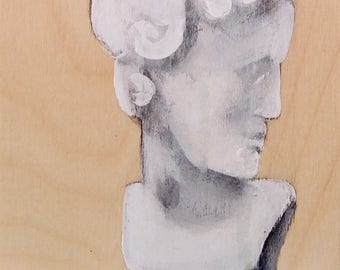 painted sculpture of a former bust