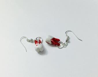 Polymer clay bloody teeth earrings