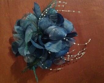 Medium size dark teal silk flower corsage