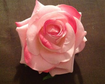 Ready to Ship Large pink silk rose pin on corsage.