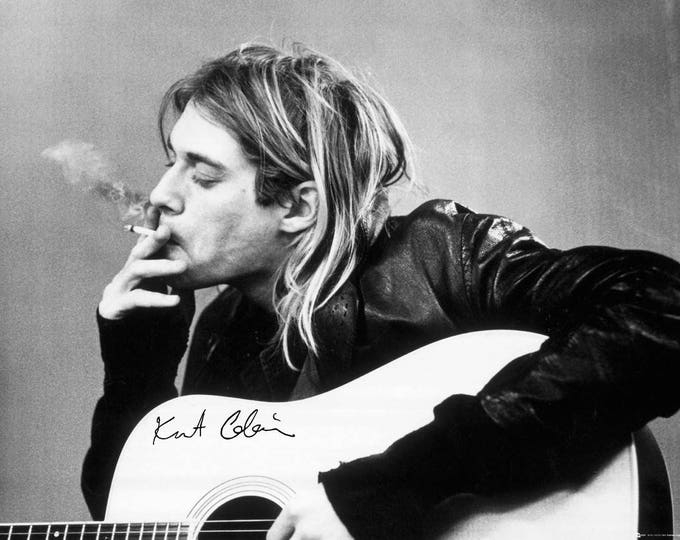 Framed Kurt Cobain Smoking Nirvana Print 11x17 Black Slim