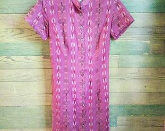 Vintage Tribal Print Button Down Dress