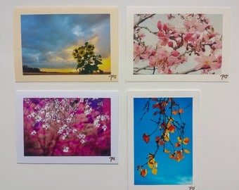 """Greeting Cards, Photography Blank, 5""""x7"""", 4 Pieces, Flowers and Leaves"""