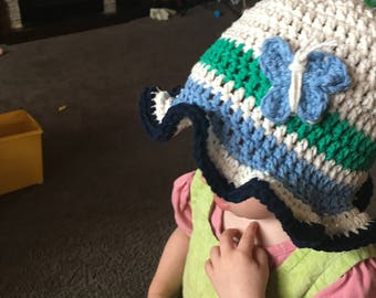 CUSTOM Baby/Toddler Girl Summer Hat with Ruffles and Butterfly