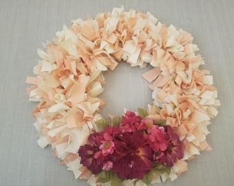 Cream and Maroon Floral Fabric Wreath