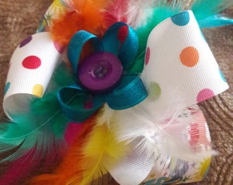 Polka sot and unicorn feather bow *unique*