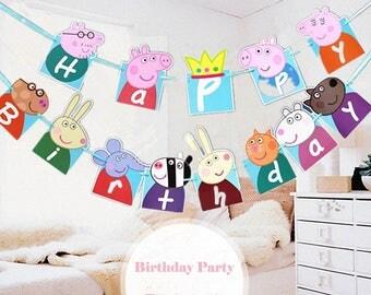 peppa pig birthday banner printable+free cupcake topper printable,peppa pig happy birthday banner,peppa pig decoration,peppa pig bunting,