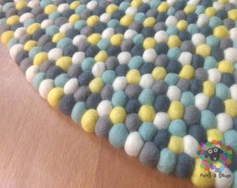 Felt Ball Rug / Nursery Pom pom carpet / Pebble Rug (Free Shipping)