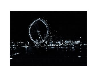 London Eye, London- Giclee print from original ink drawing. Trending; Black & White art by Lubna Speitan