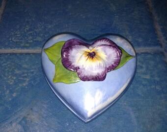 Blue Ceramic Heart Shaped Box