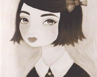 Girls Room Wall Art, Girl Print, Portrait Painting, Vintage Style Wall Art, Redhead Print, Girl Nursery Art