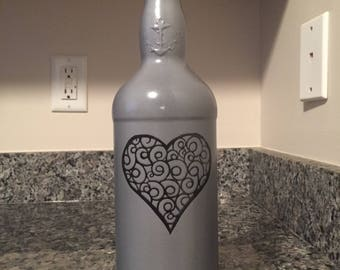 Pewter Gray Colored Vase made from upcycled liquor bottle