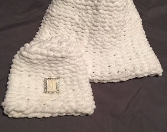 Mom and baby crochet beanies w/ initial sold seperate