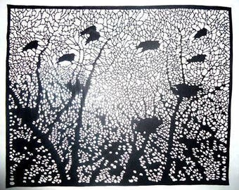 Paper cutting art, bird nets paper cut picture, 30*24.5 cm
