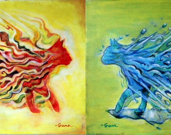 """Fire Kitty/Water Kitty Diptych Acrylic Paintings - 2 paintings on canvas, each 20""""x16"""".  BOTH paintings for 340 US Dollars!"""