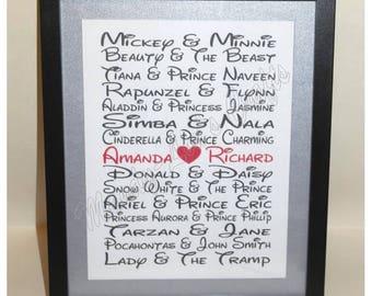 Handmade, Personalised Frame. Disney Couples