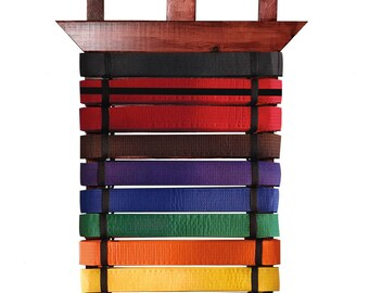Karate, Taekwondo, BJJ, belt wall display