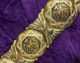 Vintage Chunky Metal Bracelet with Etched Dragon Design