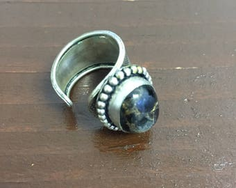 Sterling Silver Ring with Brown/Black Center Stone