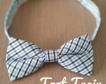 Plaid Bow Tie Tartan Chequered Bow Tie Baby Children Kids Size Baby Blue Check